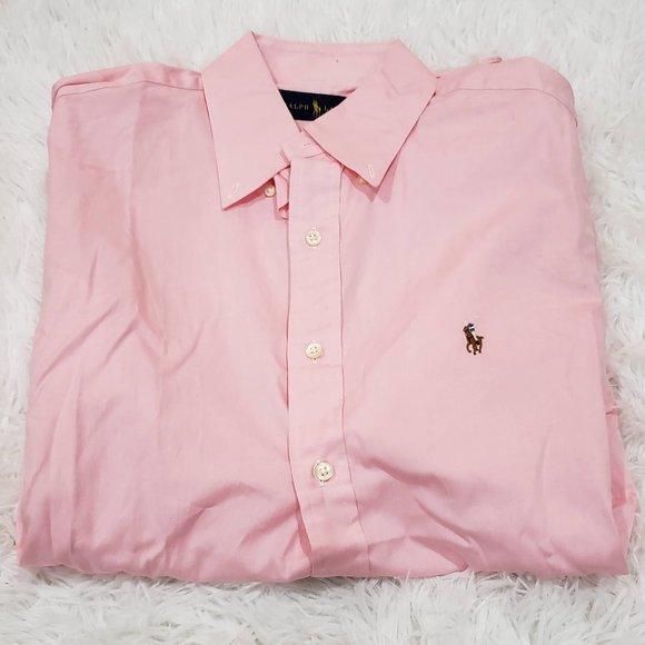 Men's Ralph Lauren Solid Pink Cotton Oxford Shirt